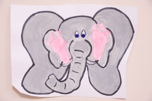 elephant painting done made with child footprint