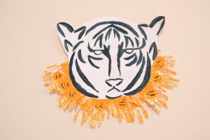 tiger painting made with children handprints