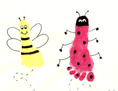 bumblebee and lady bug painting made from child foot print